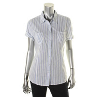 Tommy Hilfiger Womens Cotton Striped Button-Down Top