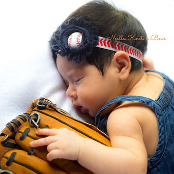Girls Baseball Headband, Baby Girls Shabby Chic Baseball Headband, Newborns, Toddlers, Tweens