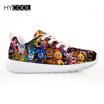 HYCOOL  At Pattern Breathable Mesh Kids Sneaker Sport Running Shoes for Boys Girls Lacing Lightweight Shoes
