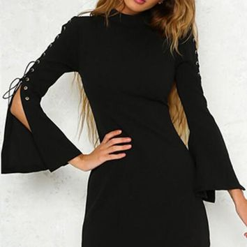 Black Zipper Lace-up Flare Sleeve Band Collar Bodycon Party Mini Dress