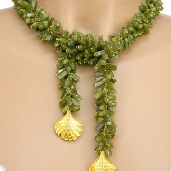 Peridot Lariat Necklace Beaded Green Gemstone Gold Feather Drops