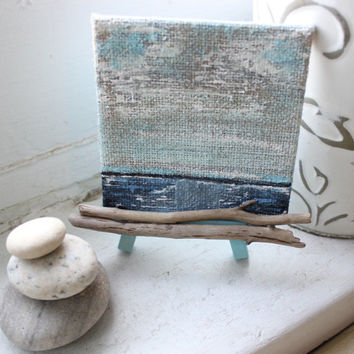 Gorgeous Mini Ocean Painting With Driftwood and Easel , Unique Coastal Decor , Nautical Art