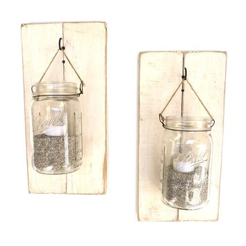 Mason Jar Wall Sconces - Shabby Chic (Pair)