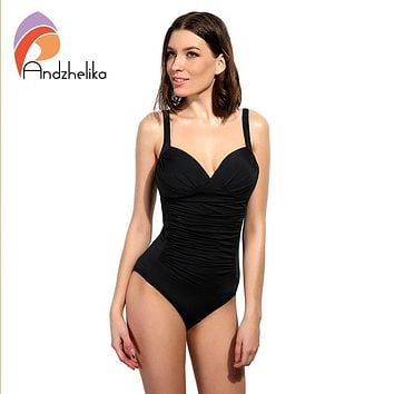 Andzhelika One Piece Swimsuit 2018 Women Swimwear Solid Beach Plus Size Bodysuits Vintage Retro Fold Bathing Suits Monokini