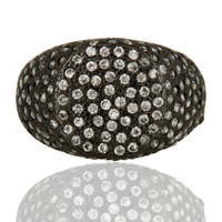 Black Rhodium Plated Sterling Silver White Cubic Zirconia Ring