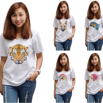 Women Animals in geometric pattern style Printed T-shirt WTS_16