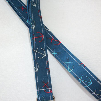 Lanyard  ID Badge Holder - Anchors - Red, white, and blue  - Lobster clasp and key ring
