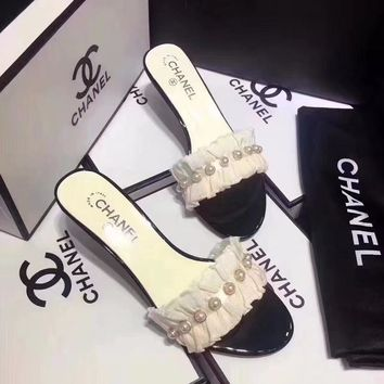CHANEL Pearl & Bow High Heels Slippers