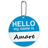 Amare Hello My Name Is Round ID Card Luggage Tag