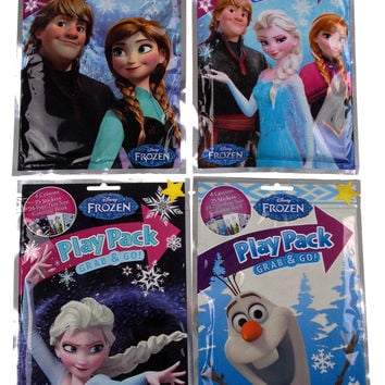 Lot 12 Disney Frozen Play Packs Grab & Go Coloring Book Crayons Stickers Favors