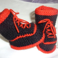 Baby Trainer Booties, Baby Goth Booties, Punk baby Knits, Lace up Baby Booties, Black Baby Booties