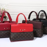 """Louis Vuitton"" Fashion Classic Multicolor Retro Logo Print Women Handbag Single Shoulder Messenger Bag"