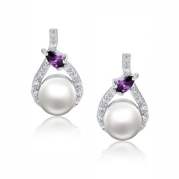 Shell Pearl W. Purple Teardrop Cubic Zirconia Earrings