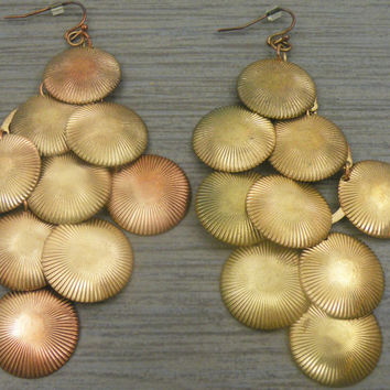 1960s Gold Tone Over Copper Shell Earrings