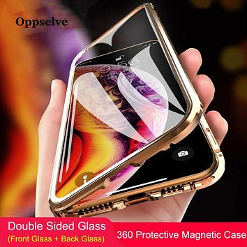 360 Double Sided Glass Magnetic Adsorption Phone Case For iPhone