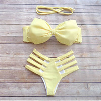 HOLLOW OUT BOWKNOT BIKINI