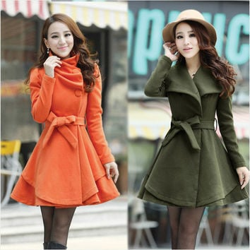 High Neck Long Sleeves Button Wool Coat With Belt on