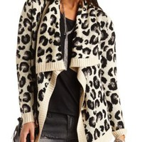 Leopard Cascade Cardigan Sweater by Charlotte Russe - Taupe Combo