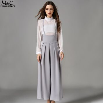 Fashion Wide Leg Pleated Cross Back Casual Palazzo Suspender Cropped Pants
