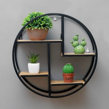 Retro Round Wooden Wall Hanging Metal Shelf