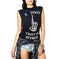Asher I Dont Trust Me Either Slogan Printed Casual Tee