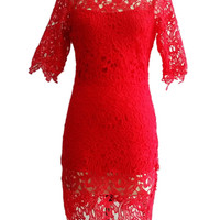 Red Crochet Lace Short Sleeve Bodycon Mini Dress