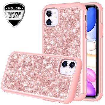 Apple iPhone 11 Case, Glitter Bling Heavy Duty Shock Proof Hybrid Case with [HD Screen Protector] Dual Layer Protective Phone Case Cover for Apple iPhone 11 - Rose Gold