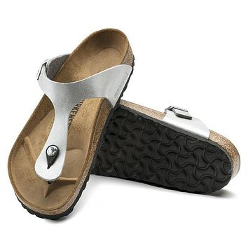 Best Online Sale Birkenstock Gizeh Birko Flor Graceful Silver 1009604 Sandals