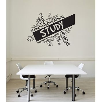 Vinyl Wall Decal Study Words Cloud Education University School Interior Stickers Mural (ig5780)