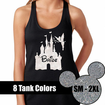 GLITTER Bride Disney is my Home Tank  // Disneyland Shirt // Disney Cinderella Castle Disney Clothing // Vacation (69-NL-33) White Glitter