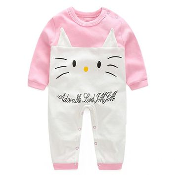 2017 Spring Autumn Baby Romper Cartoon Long Sleeve Baby Girl Romper Fashion New Born Baby Clothes Infant Costume