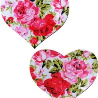 Red Rose Floral Print Heart Pasties