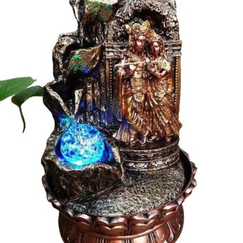 Bright Radha Krishna Religious Water Fountain For Indoor Space
