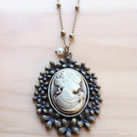 Lady in a Bed of Flowers Cameo Long Necklace