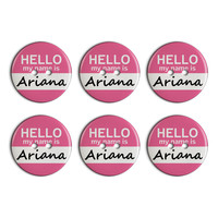 Ariana Hello My Name Is Plastic Resin Button Set of 6