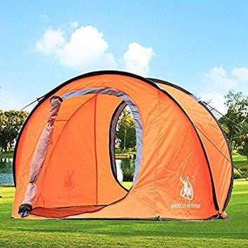 Large Pop Up Backpacking Camping Hiking Tent Automatic Instant Setup Easy Fold back - Orange