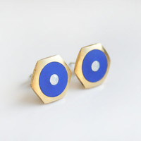 Large Blueberry Geometric Hexagon stud earring -White opal cubic zirconia-