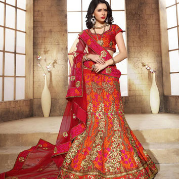 Women's Dupioni Raw Silk Fabric & Red Pretty Unstitched Lehenga Choli