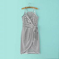 Striped Deep V-Neck Wrap Front Tie Waist Cami Dress
