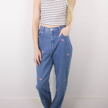 Vintage (SMALL) American Flag High Waisted Denim Jeans