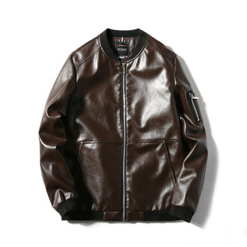 New Leather Jacket Men Casual Style Motorcycle Leather Jackets Men's Leather Clothing Male Clothing Black