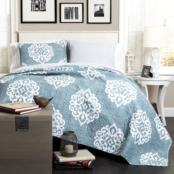 The Matilda Boho Bohemian Moroccan Blue 3 PC Quilt Bedding Set