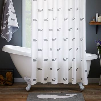 Whale Shower Curtain - Feather Gray