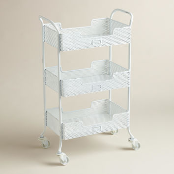 White Punched Metal Yvette Rolling Cart