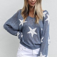 The Memories Star Print Long Sleeve Knit Top