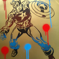 Captain America painting gold card spraypaints stencil art urban pop art comics marvel Graffiti red blue spray can art metallic superheros