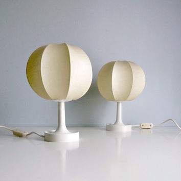 Mid Century Modern Cocoon Table Lamps Pair - Castiglioni, Italy - Minimalist, Design Classic - Mad Men, 1960's Home