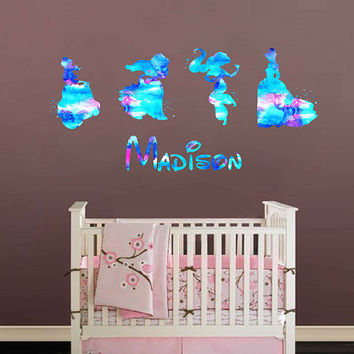 kcik1978 Full Color Wall decal Watercolor Character Disney Princesses Belle Ariel Jasmine Cinderella Girl name personalized Child's name