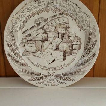 British bread and cheese plate vintage 1950s John Buck rich brown colour decorative plate ships worldwide from UK