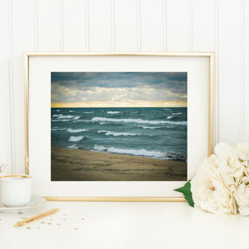 Saugatuck Lake Michigan Print, Oval Beach, waves, sunset, vintage photography, travel, sand, clouds, wall print, home decor, peaceful, calm
